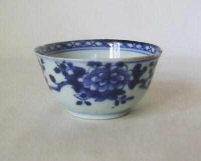 Qianlong Chinese Blue & White Porcelain Tea Bowl c.1750:  Rim Frits, No Cracks