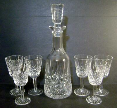 Waterford Crystal Lismore Decanter and Six Sherry Goblets