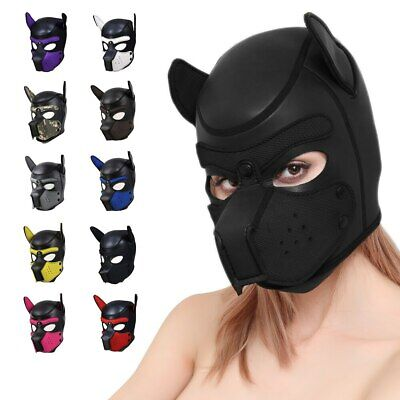 Soft Padded Rubber Neoprene Puppy Cosplay Role Play Dog Mask Full Head with