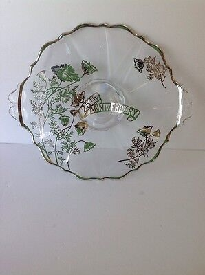 25th Anniversary Footed Clear Glass With Silver Overlay Floral Design Dish/Plate