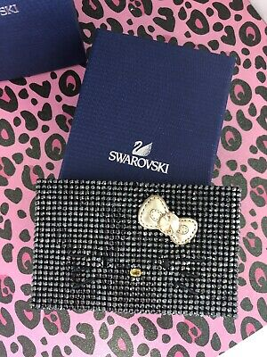 Swarovski Crystal Hello Kitty Card Holder Black Gold Bow Rare NWT