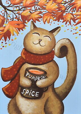 ACEO folk art print PUMPKIN SPICE KITTY cat Autumn Fall scarf leaf funny cute DC