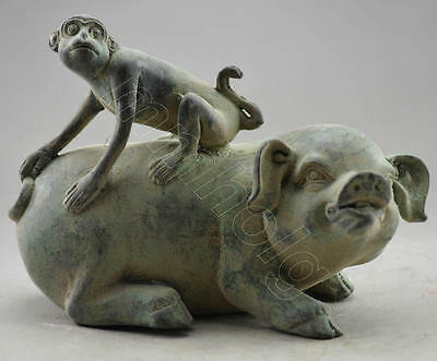 antique excellent china old bronze carved statue Carved Monkey On Pig