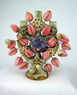 "Mexican Clay  Folk Art Tree of Life Candleholder 5"" Beautiful"