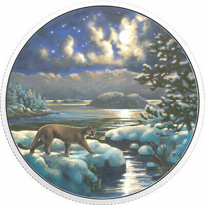 2017 Canada Animals in the Moonlight : Cougar $30 pure silver + Glow in the dark
