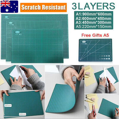 A1 A2 A3 3-Ply Self Healing Cutting Mat Craft DIY Grid Lines 2 Side Thick PVC+A5