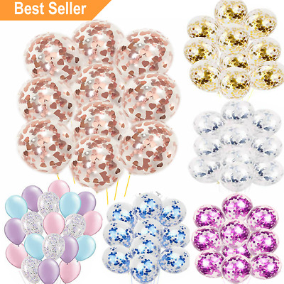 "10pcs 12"" Confetti Latex Balloons Helium B-DAY Party Wedding Baby Shower Large"