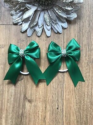Handmade Girls Forest Green Bows Bling School Hair Bow Bobbles Sold In Pairs