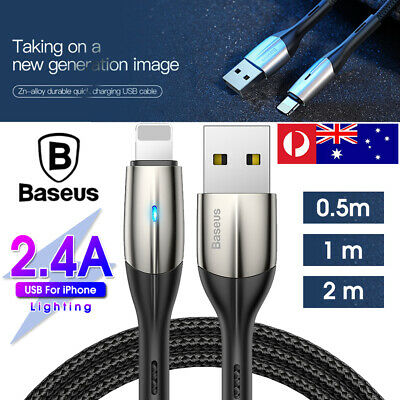 Baseus Lightning Charging Cable Fast Charger Cord for iPhone XS XR 8 7 6 iPad