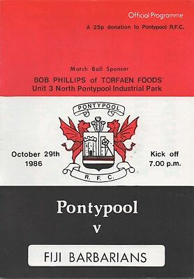Oct 86 PONTYPOOL v FIJI BARBARIANS