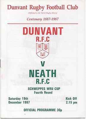 Dec 87 DUNVANT v NEATH Welsh Cup