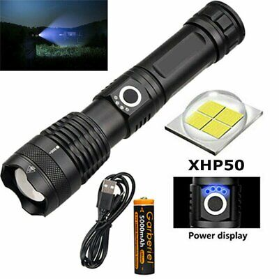 500000 Lumens Zoomable XHP50 5 Modes LED USB Rechargeable 18650 26650 Flashlight