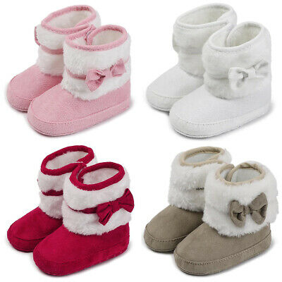 Newborn Baby Girls Toddler Fur Snow Boots Soft Bow-Knot Shoes Booties Prewalker