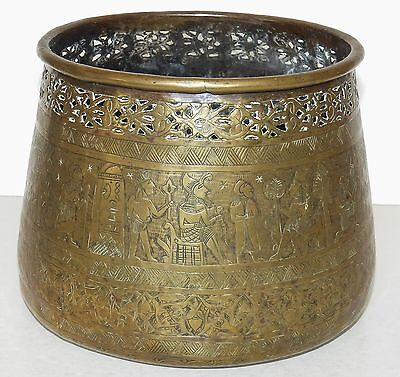 Antique EGYPTIAN REVIVAL Pictorial ENGRAVED Pierced BRASS Planter POT Cairoware