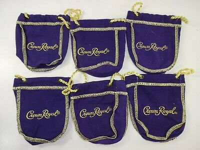 Lot of 6 Crown Royal 50ml Purple Drawstring Mini Bags - 4.5 inch