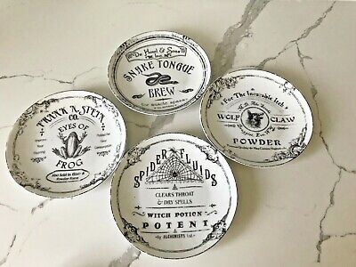 222 Fifth Hallow Apothecary Halloween Porcelain Appetizer Plates set 8 New