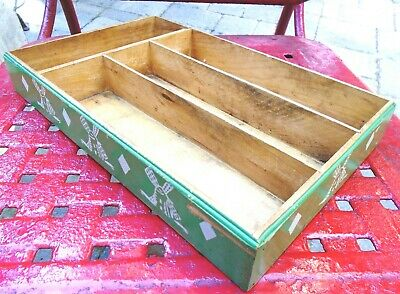 Vintage Wood STOWARE Green Painted Windmills Divided Kitchen Drawer Utensil Tray