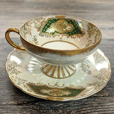 Vtg Royal Sealy China Made in Japan Iridescent Footed Teacup Saucer Lusterware