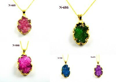 """Wonderful 18K Gold Plated Carving Sugar Druzy Pendant 20""""Chain Overlay Jewelry"""