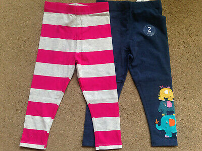 BNWT NEXT Girls 2 Pack Pink Grey Navy Elephant Leggings Trousers 18-24 Months