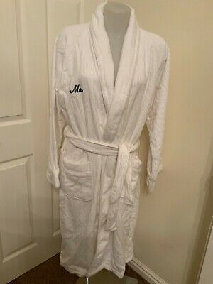 John Lewis Cotton White Ribbed Mrs Dressing Gown Size L/Xl New With Tag