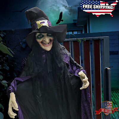 "74"" Life Size Animated Witch with LED Eyes & Spooky Sounds Halloween Decorations"