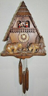 Large 8 Day Edelweiss Cuckoo Chalet Clock Rare 3 Bears Regula Black Forest Vtg