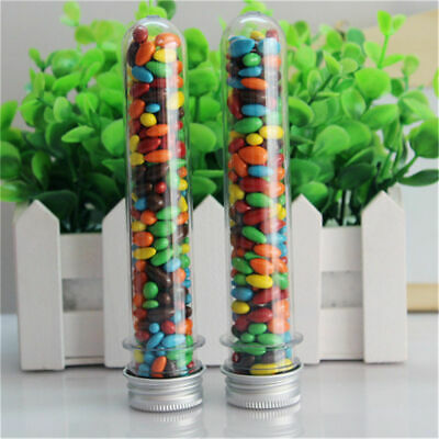 20pcs 40ml Plastic Test Tubes with Screw Caps Candy Box Containers for Bath Salt