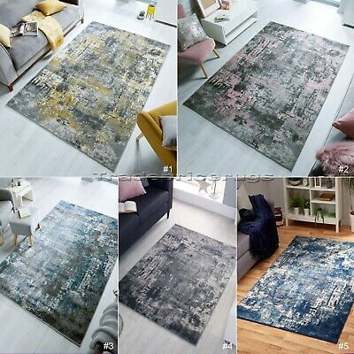 Small - Large Abstract Distressed Faded Pile Vintage-Look Rugs