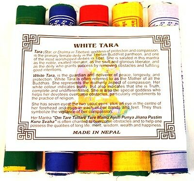 Tibetan Cotton Prayer Flags White Tara Mantra of Protection & Compassion 5 Rolls