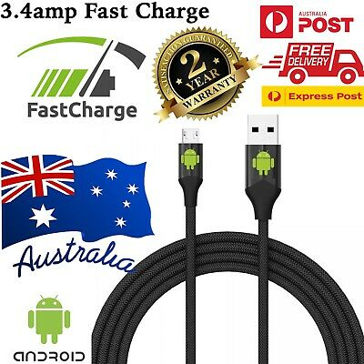 1M/2M Strong Braided Micro USB Data Sync Charger Cable Cord Android Samsung AU