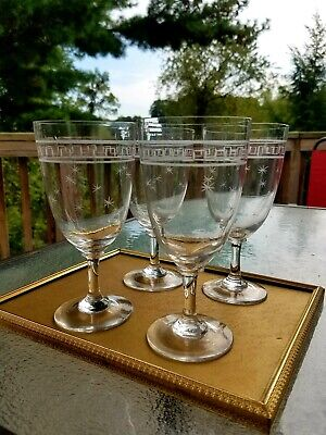 Antique Edwardian Clear Crystal Hand Etched Wine Water Goblet Glasses Lot Of 4