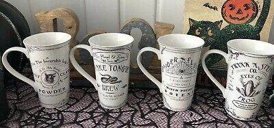 222 Fifth Hallow Apothecary Porcelain Latte Mugs Set of Four Halloween NEW