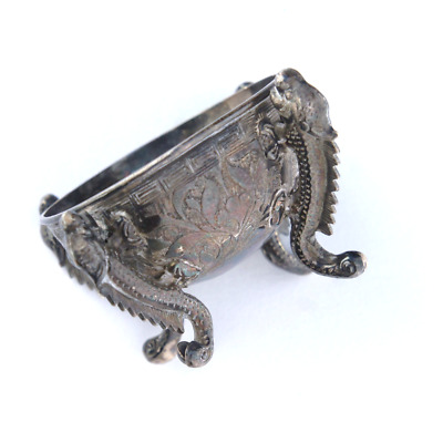 Antique Sterling Silver Chinese Not for Export Serpent Dragon Tiny Dish c1800
