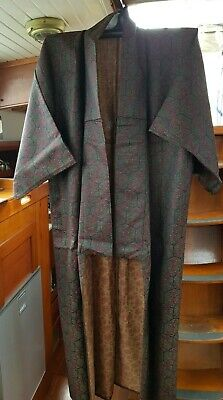 Fab Black, Yellow & Red Patterned Silk Vintage Japanese Full Length Kimono