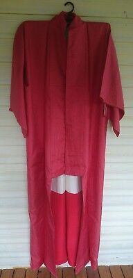 Lovely Red With Tiny White Pattern Vintage Japanese Full Length Silk Kimono