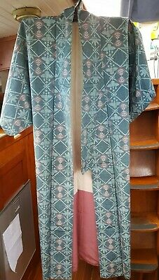 Fab Green & Grey Patterned Vintage Japanese Silk Full Length Kimono