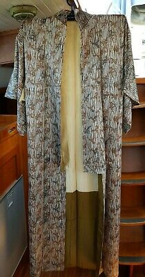 Fab Silver Grey With Brown Bamboo Pattern Vintage Japanese Full Length Kimono