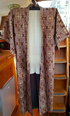 Fab Maroon And Tan Patterned Vintage Japanese Full Length Kimono