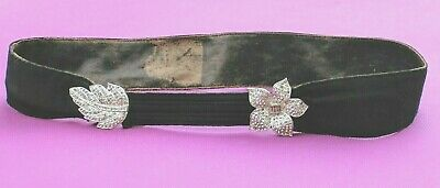 ART DECO ERA Vintage 1920s FLAPPER Hand Crafted LEATHER/MARCASITE Belt 30-32""
