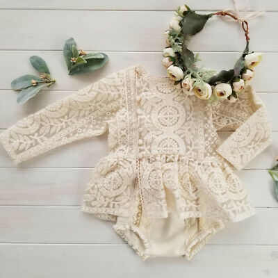 US Newborn Infant Baby Girls Clothes Long Sleeve Lace Romper Tutu Dress Outfits