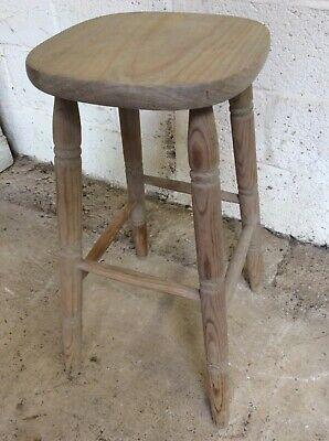 "28 18/"" High Reclaimed Old Pine Stool With Turned Legs"