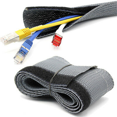 1m Flex Cable Protection Hose Touch Fastener Grey Fabric Hose [ Ø25mm ]