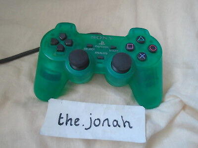 PS1 Official CLEAR GREEN Dual Shock Controller Sony Playstation TESTED & WORKING