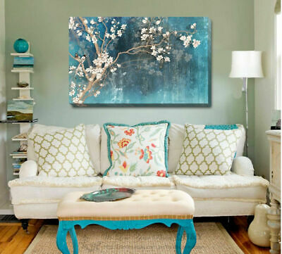 Blue Flower Blossom Stretched Canvas Print Framed Wall Art Decor Painting F110