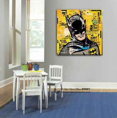 Batman Stretched Canvas Print Framed Wall Art Painting Purple Decor Gift