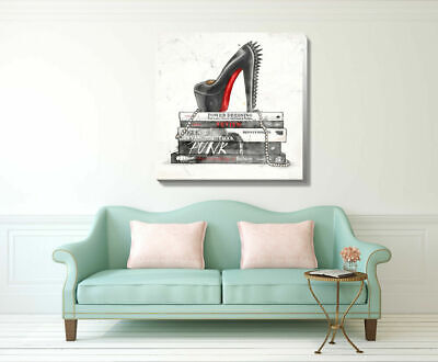 Punk Shoes Fashion Stretched Canvas Print Framed Wall Hanging Home Office Decor