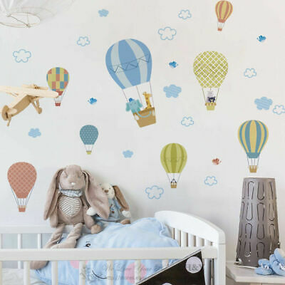 Animal Hotair balloon Wall Decal Removable Stickers Kids Nursery Decor Gift