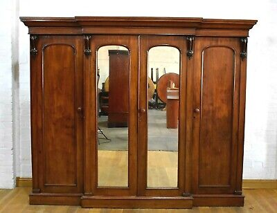 Antique Victorian mahogany 4 door breakfront wardrobe