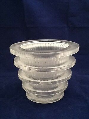 """Vintage LALIQUE French Frosted & Clear Crystal Art Glass Vase Made In France 6"""""""